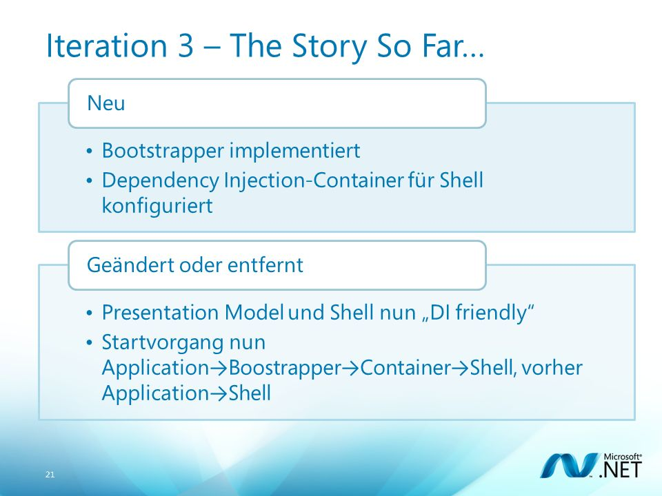 21 Iteration 3 – The Story So Far… Bootstrapper implementiert Dependency Injection-Container für Shell konfiguriert Neu Presentation Model und Shell nun DI friendly Startvorgang nun Application Boostrapper Container Shell, vorher Application Shell Geändert oder entfernt