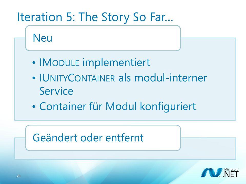 29 Iteration 5: The Story So Far… IM ODULE implementiert IU NITY C ONTAINER als modul-interner Service Container für Modul konfiguriert NeuGeändert oder entfernt
