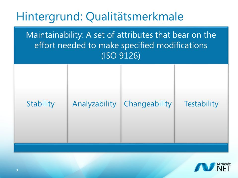 3 Hintergrund: Qualitätsmerkmale Maintainability: A set of attributes that bear on the effort needed to make specified modifications (ISO 9126) StabilityAnalyzabilityChangeabilityTestability