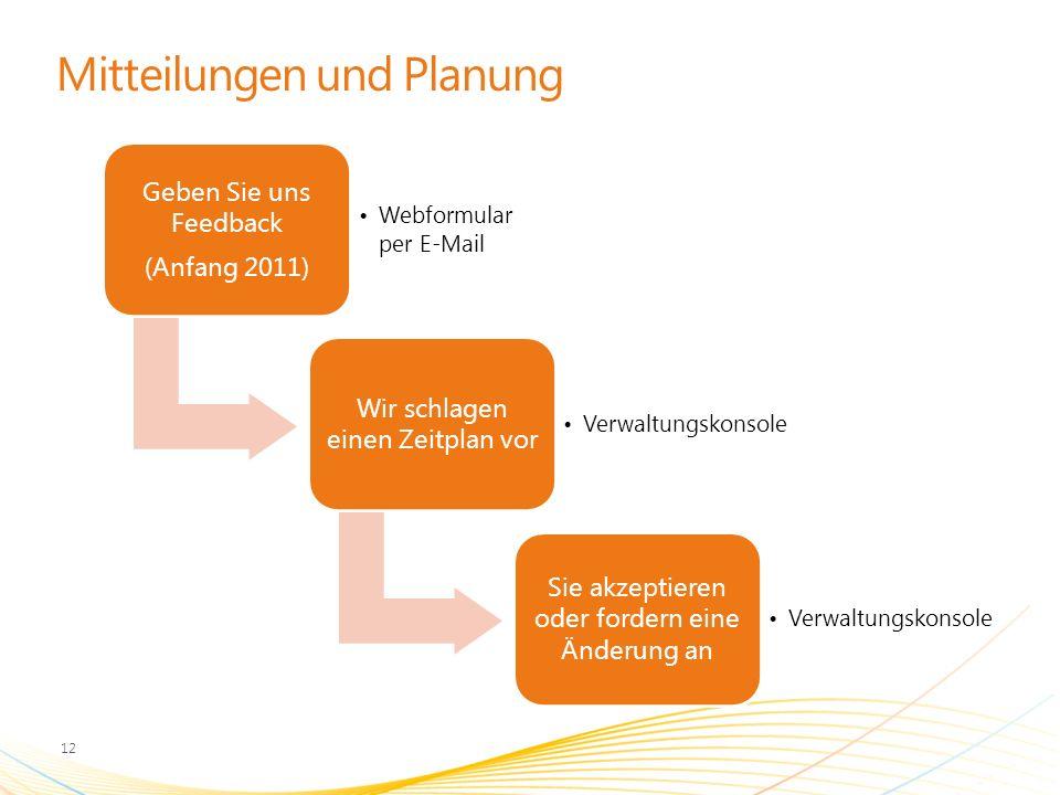 Mitteilungen und Planung Geben Sie uns Feedback (Anfang 2011) Webformular per E-Mail Wir schlagen einen Zeitplan vor Verwaltungskonsole Sie akzeptiere