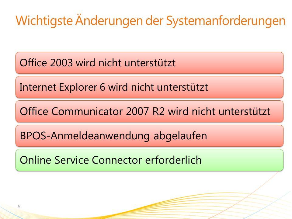 Wichtigste Änderungen der Systemanforderungen 6 Office 2003 wird nicht unterstütztInternet Explorer 6 wird nicht unterstützt Office Communicator 2007