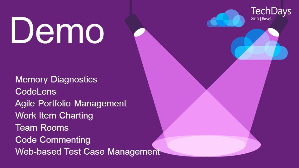 Demo | Basel Memory Diagnostics CodeLens Agile Portfolio Management Work Item Charting Team Rooms Code Commenting Web-based Test Case Management