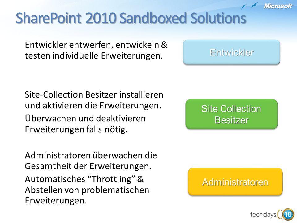 SharePoint 2010 Sandboxed Solutions SharePoint 2010 Sandboxed Solutions Entwickler entwerfen, entwickeln & testen individuelle Erweiterungen.