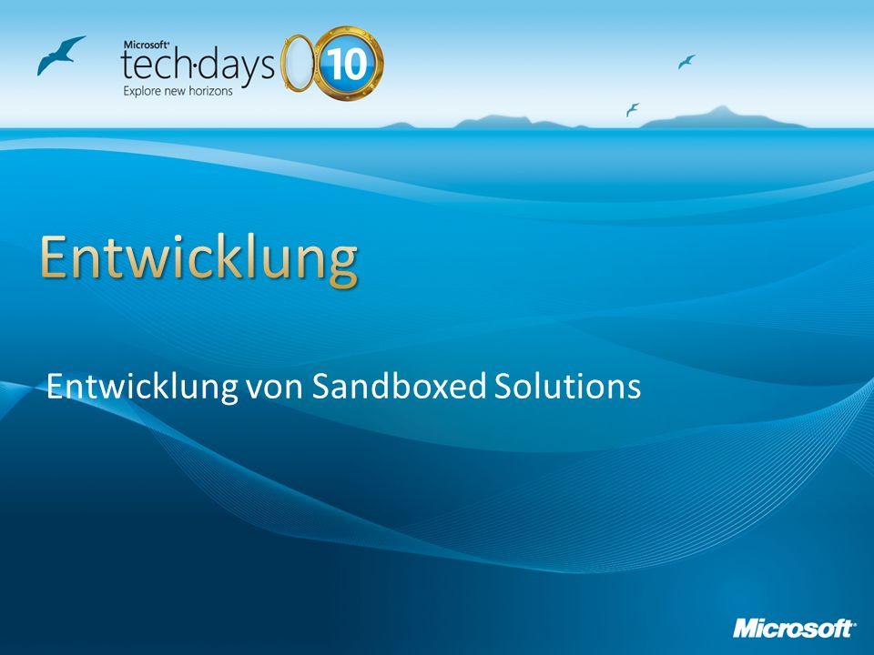Entwicklung von Sandboxed Solutions
