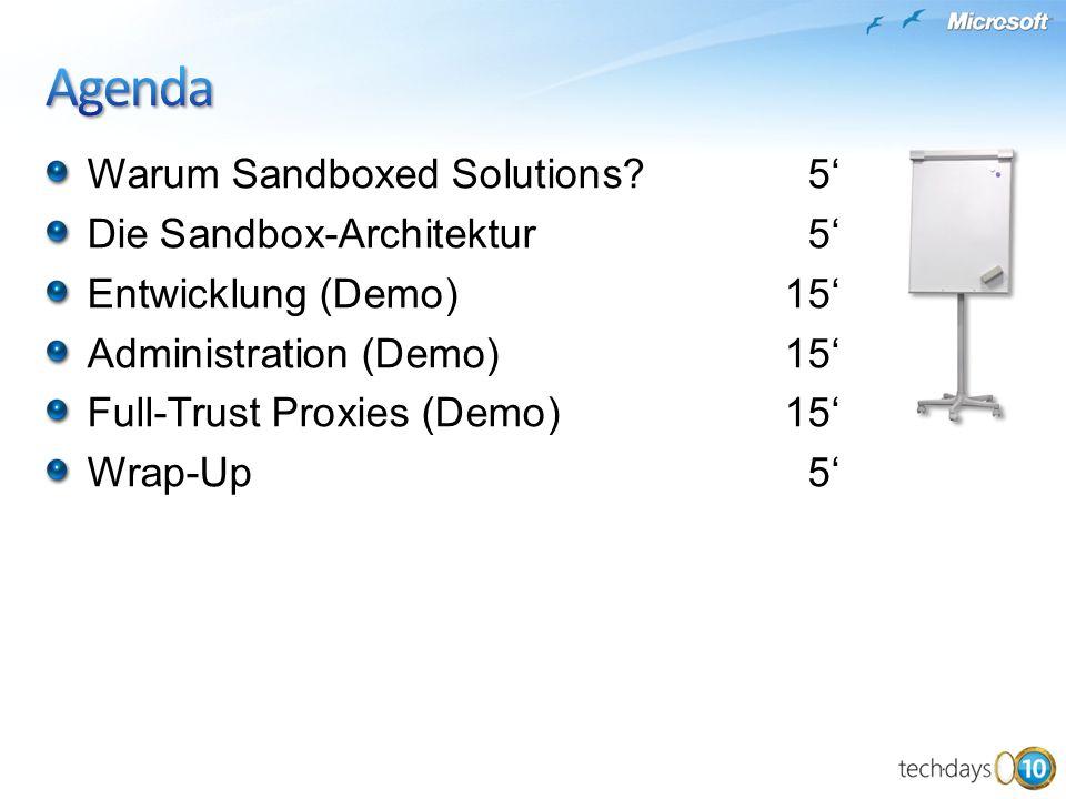 Warum Sandboxed Solutions?5 Die Sandbox-Architektur5 Entwicklung (Demo)15 Administration (Demo)15 Full-Trust Proxies (Demo)15 Wrap-Up5