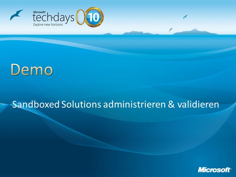 Sandboxed Solutions administrieren & validieren