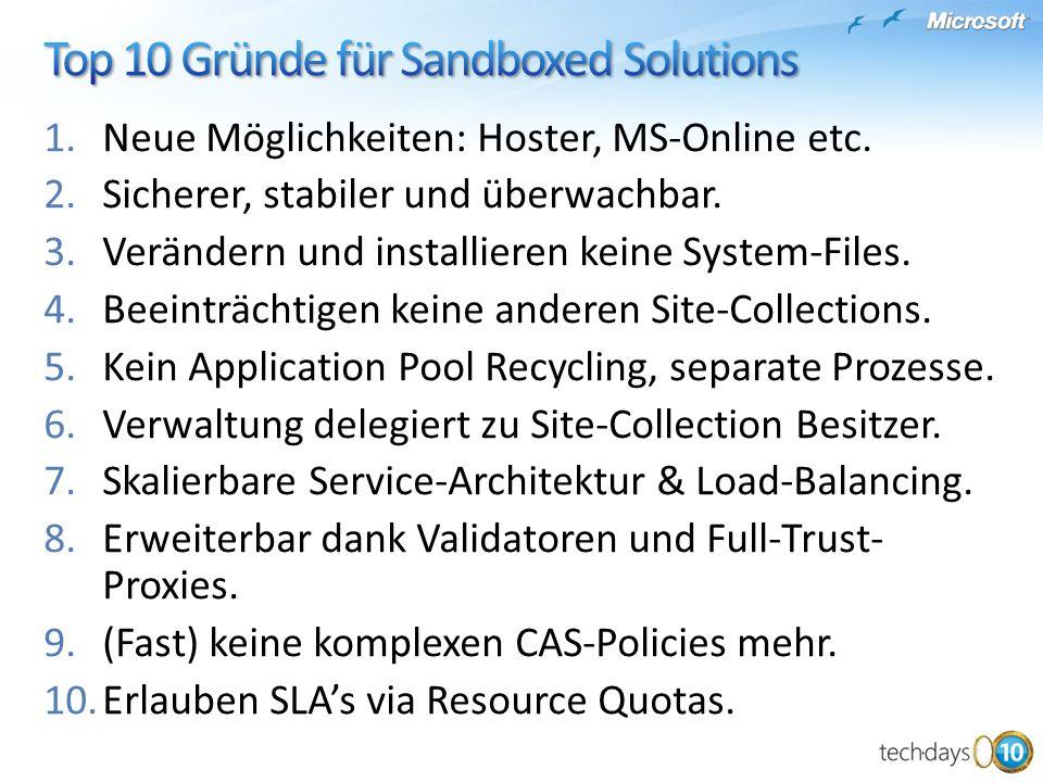 1.Neue Möglichkeiten: Hoster, MS-Online etc.2.Sicherer, stabiler und überwachbar.