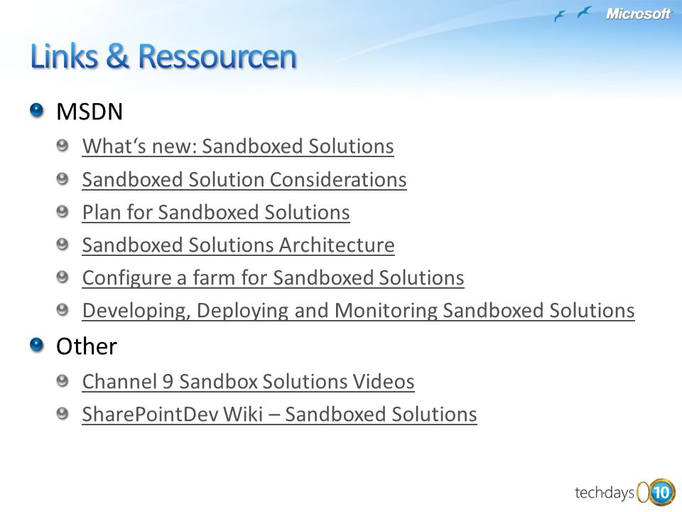 MSDN Whats new: Sandboxed Solutions Sandboxed Solution Considerations Plan for Sandboxed Solutions Sandboxed Solutions Architecture Configure a farm f