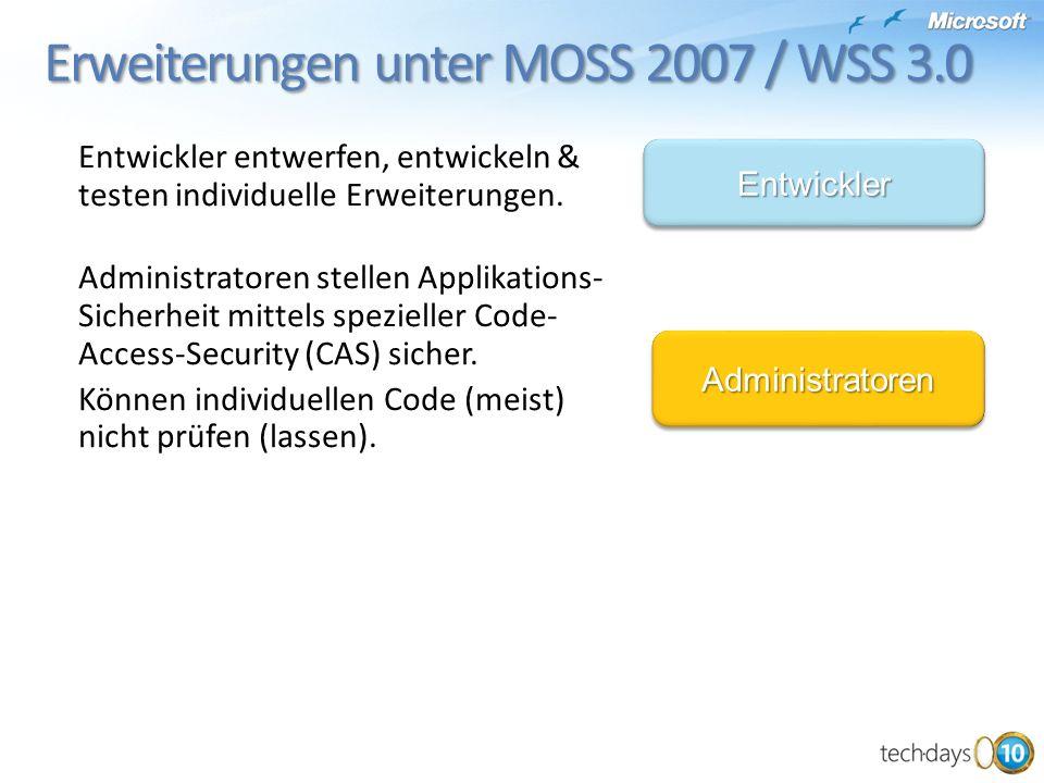 Erweiterungen unter MOSS 2007 / WSS 3.0 Entwickler entwerfen, entwickeln & testen individuelle Erweiterungen.