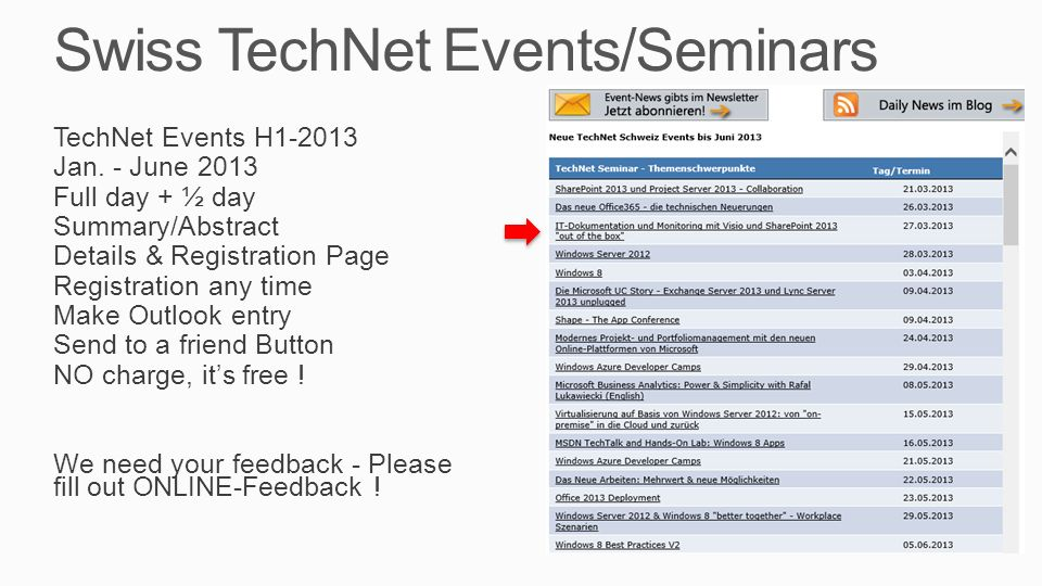 Swiss TechNet Events/Seminars TechNet Events H1-2013 Jan.