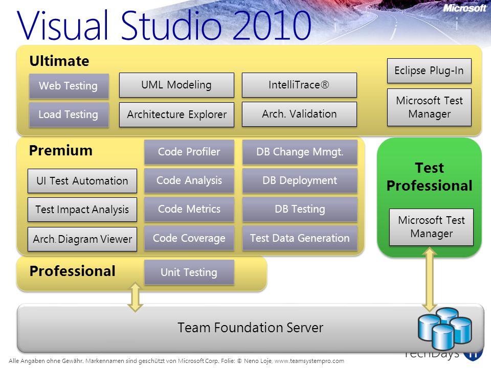 Visual Studio 2010 Alle Angaben ohne Gewähr. Markennamen sind geschützt von Microsoft Corp.