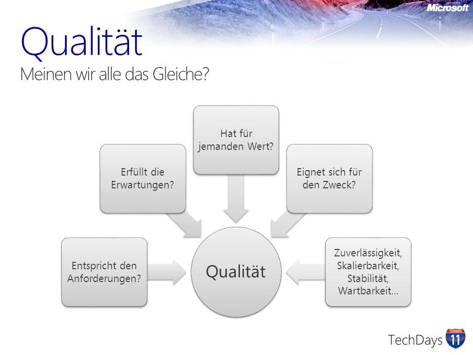Qualität Entspricht den Anforderungen. Erfüllt die Erwartungen.