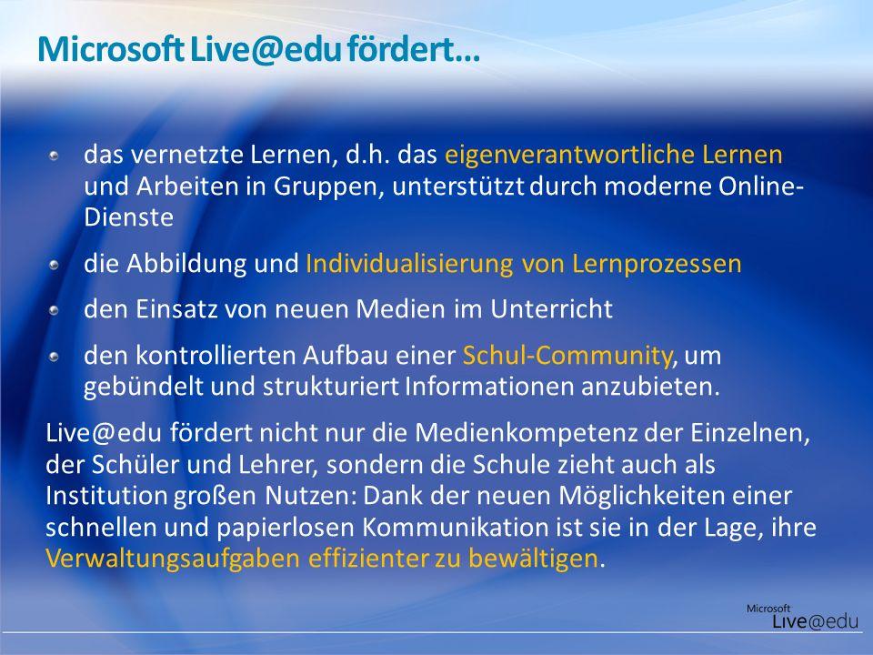 Microsoft Live@edu fördert…