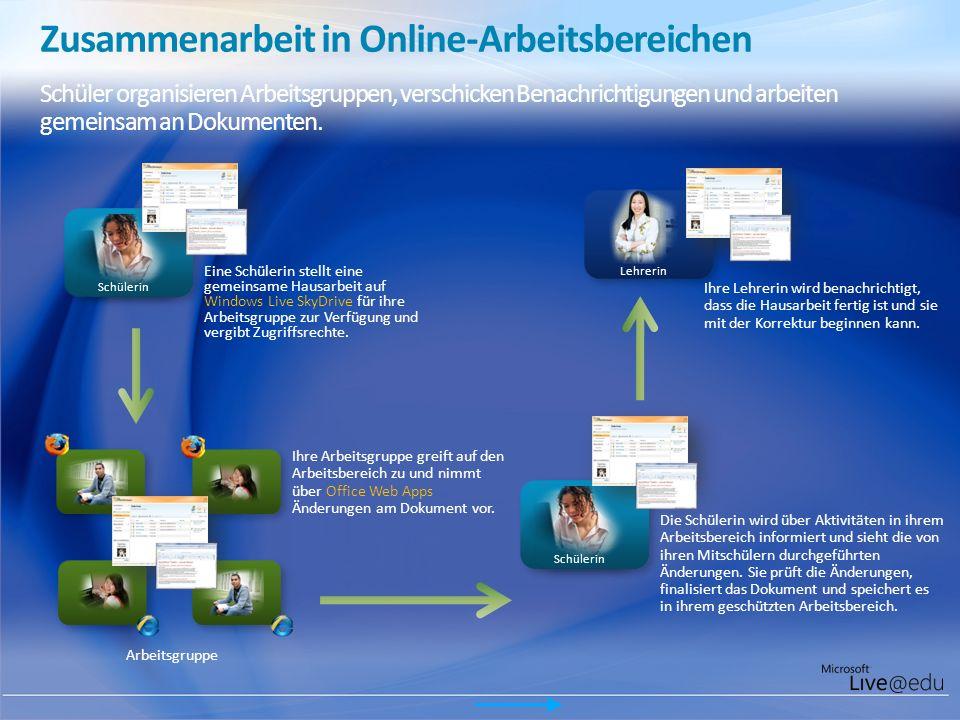 Zusammenarbeit in Online-Arbeitsbereichen Schüler organisieren Arbeitsgruppen, verschicken Benachrichtigungen und arbeiten gemeinsam an Dokumenten. Sc