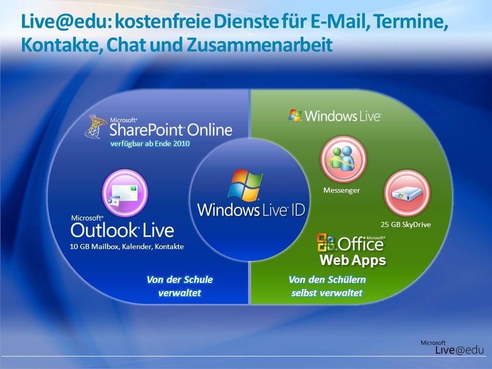 Live@edu: kostenfreie Dienste für E-Mail, Termine, Kontakte, Chat und Zusammenarbeit Messenger 25 GB SkyDrive 10 GB Mailbox, Kalender, Kontakte
