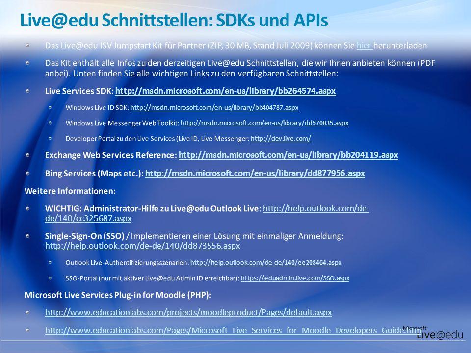 Live@edu Schnittstellen: SDKs und APIs