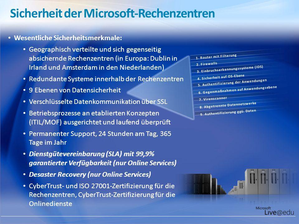Sicherheit der Microsoft-Rechenzentren 9. Authentifizierung ggü. Daten 8. Abgetrennte Datennetzwerke 7. Virenscanner 6. Gegenmaßnahmen auf Anwendungse
