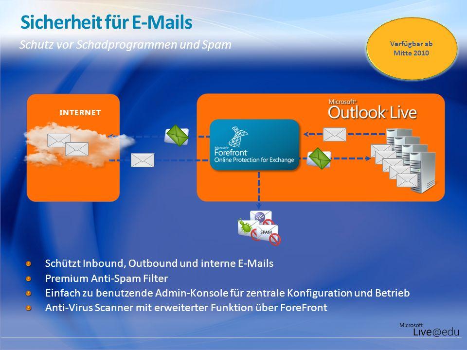 Sicherheit für E-Mails Schutz vor Schadprogrammen und Spam Schützt Inbound, Outbound und interne E-Mails Premium Anti-Spam Filter Einfach zu benutzend