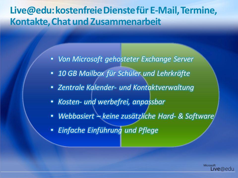Live@edu: kostenfreie Dienste für E-Mail, Termine, Kontakte, Chat und Zusammenarbeit