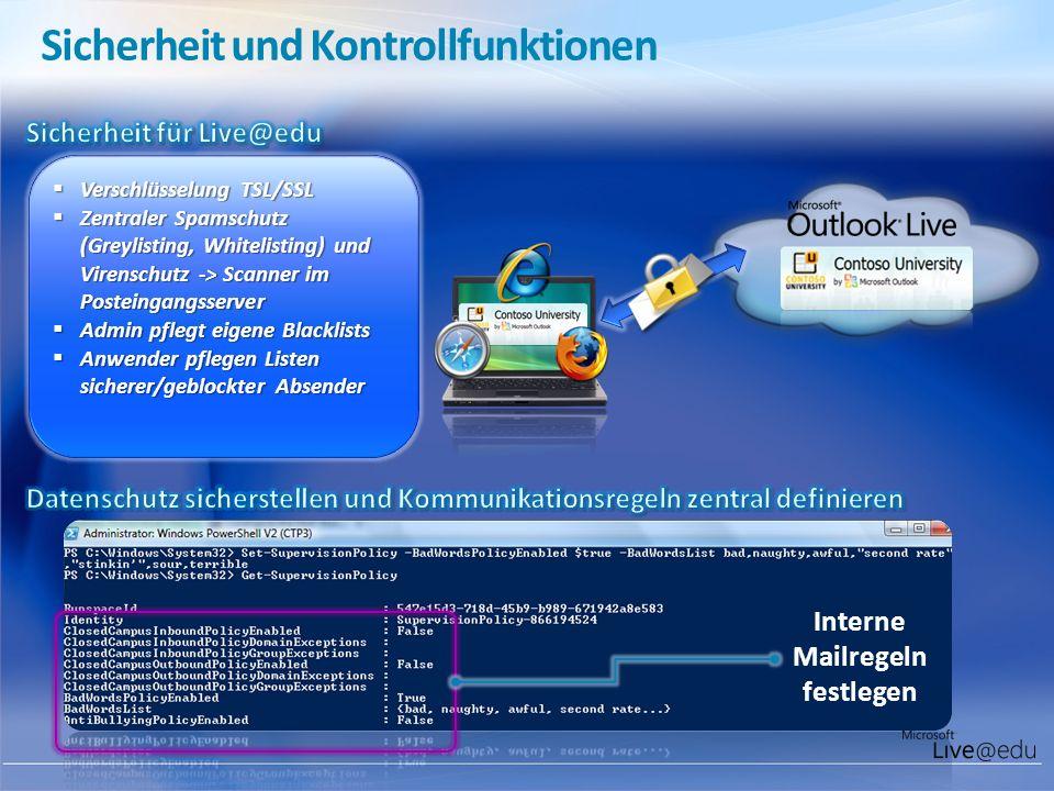 Interne Mailregeln festlegen Sicherheit und Kontrollfunktionen Verschlüsselung TSL/SSL Verschlüsselung TSL/SSL Zentraler Spamschutz (Greylisting, Whit