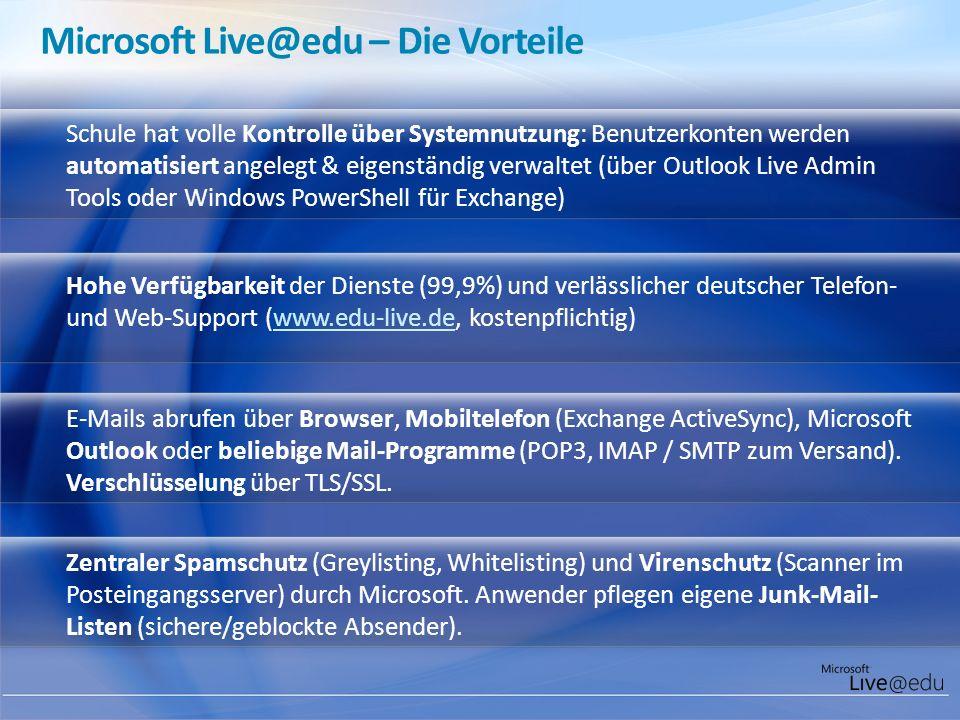 Microsoft Live@edu – Die Vorteile Schule hat volle Kontrolle über Systemnutzung: Benutzerkonten werden automatisiert angelegt & eigenständig verwaltet