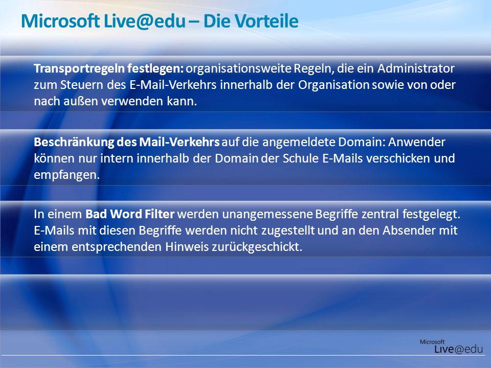 Transportregeln festlegen: organisationsweite Regeln, die ein Administrator zum Steuern des E-Mail-Verkehrs innerhalb der Organisation sowie von oder