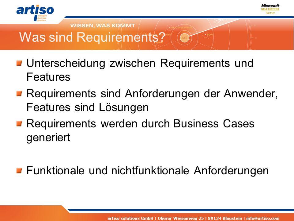 artiso solutions GmbH | Oberer Wiesenweg 25 | 89134 Blaustein | info@artiso.com Was sind Requirements? Unterscheidung zwischen Requirements und Featur