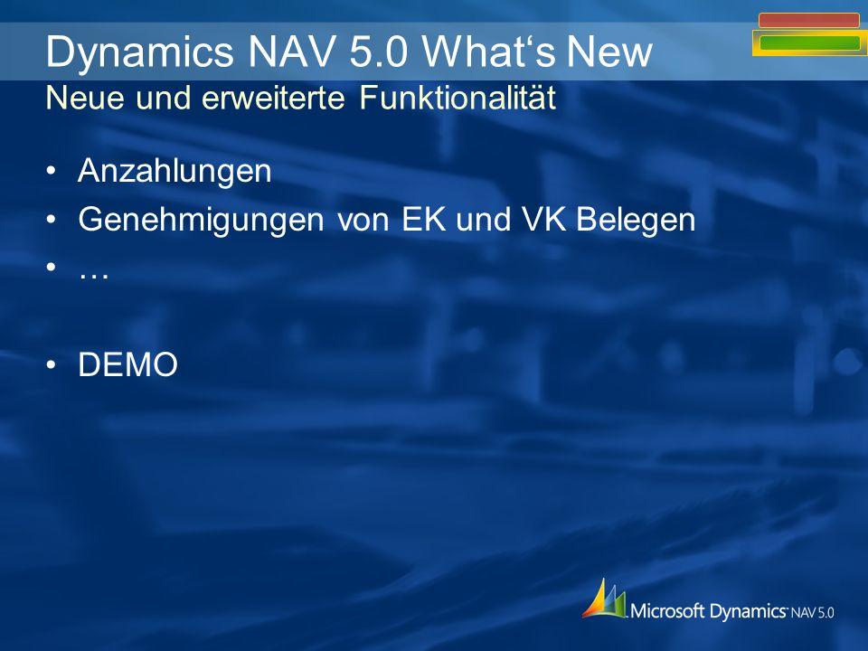 Anzahlungen Genehmigungen von EK und VK Belegen … DEMO Dynamics NAV 5.0 Whats New Neue und erweiterte Funktionalität