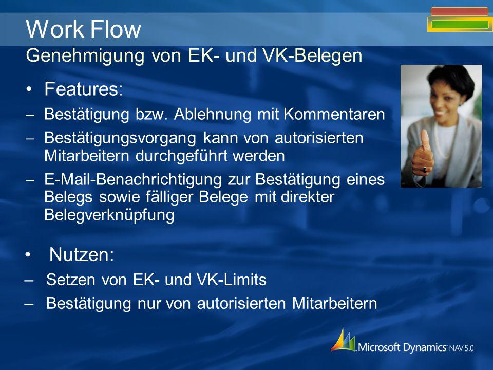 Nutzen: –Setzen von EK- und VK-Limits –Bestätigung nur von autorisierten Mitarbeitern Work Flow Genehmigung von EK- und VK-Belegen Features: Bestätigung bzw.