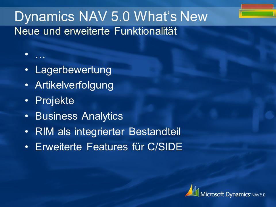 … Lagerbewertung Artikelverfolgung Projekte Business Analytics RIM als integrierter Bestandteil Erweiterte Features für C/SIDE Dynamics NAV 5.0 Whats New Neue und erweiterte Funktionalität