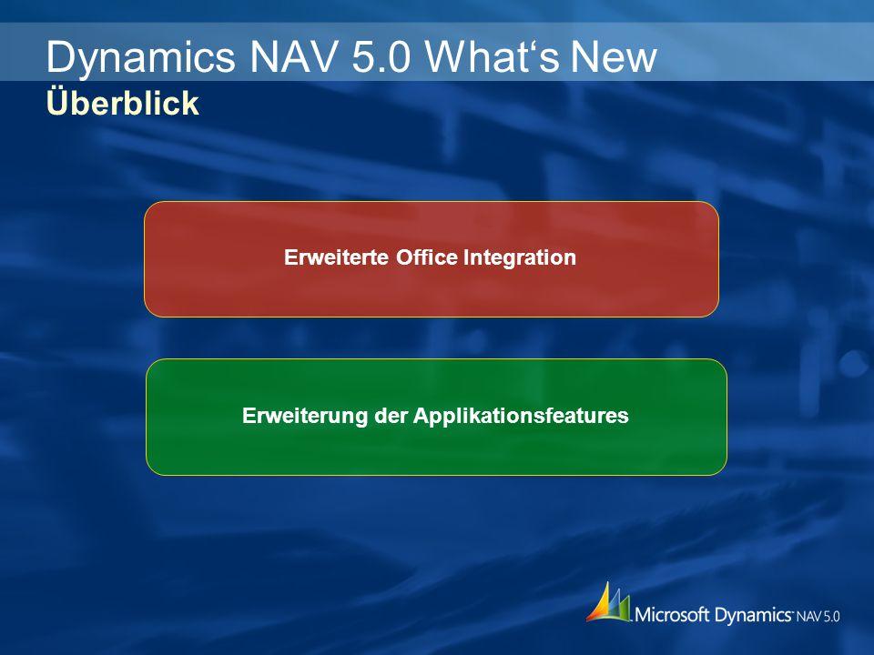 Erweiterte Office Integration Erweiterung der Applikationsfeatures Dynamics NAV 5.0 Whats New Überblick