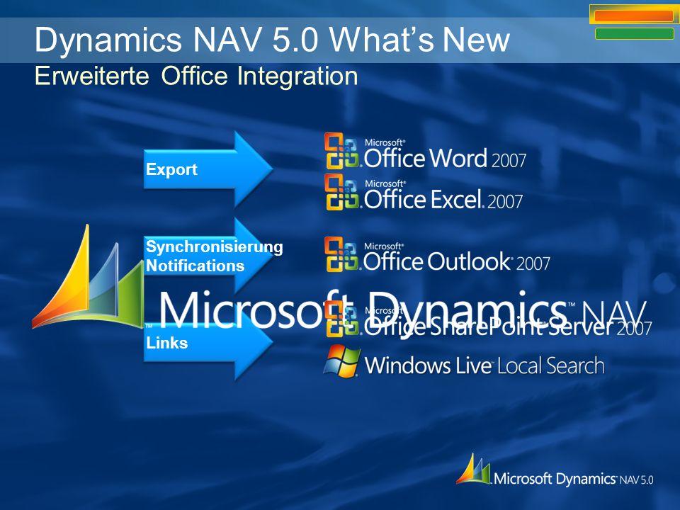 Export durch Office XML Style Sheets Export durch Office XML Feature: Export eines beliebigen Formulars nach Word, Excel oder Outlook mithilfe von pre- konfigurierten aber anpassbaren Style Sheets Nutzen: –Datenansicht direkt in der Office-Anwendung –Datenversand an Benutzer ohne Dynamics NAV