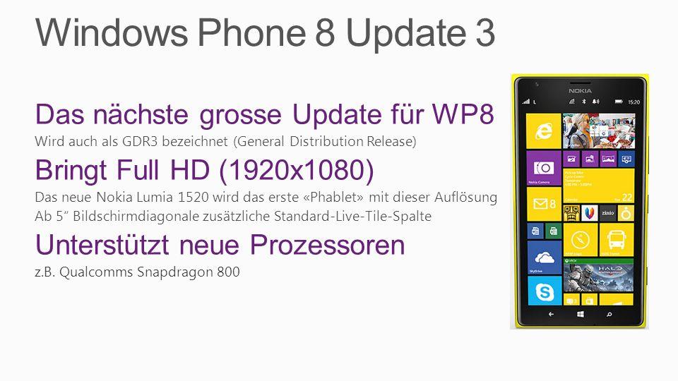 Windows Phone 8 Update 3 Das nächste grosse Update für WP8 Wird auch als GDR3 bezeichnet (General Distribution Release) Bringt Full HD (1920x1080) Das