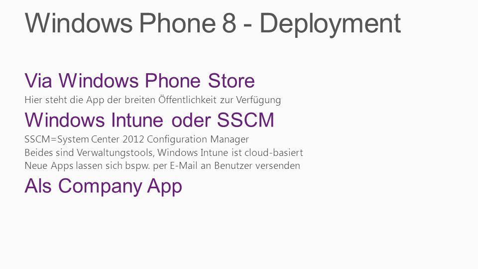 Windows Phone 8 - Deployment Via Windows Phone Store Hier steht die App der breiten Öffentlichkeit zur Verfügung Windows Intune oder SSCM SSCM=System