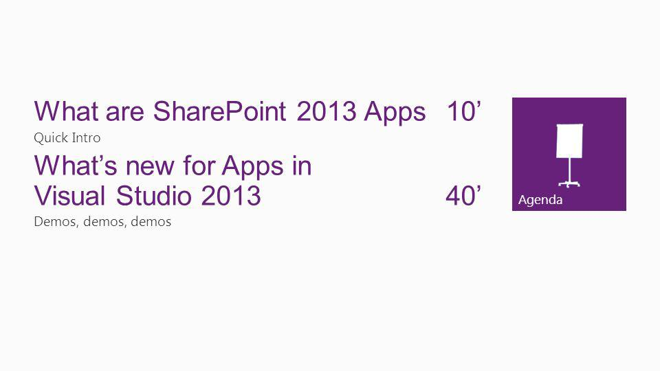 Agenda What are SharePoint 2013 Apps10 Quick Intro Whats new for Apps in Visual Studio 2013 40 Demos, demos, demos