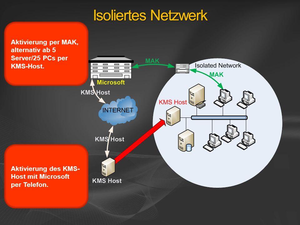Isoliertes Netzwerk Aktivierung per MAK, alternativ ab 5 Server/25 PCs per KMS-Host. Aktivierung des KMS- Host mit Microsoft per Telefon.