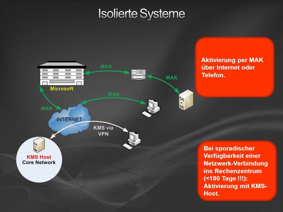 Aktivierung per MAK über Internet oder Telefon. Bei sporadischer Verfügbarkeit einer Netzwerk-Verbindung ins Rechenzentrum (<180 Tage !!!): Aktivierun