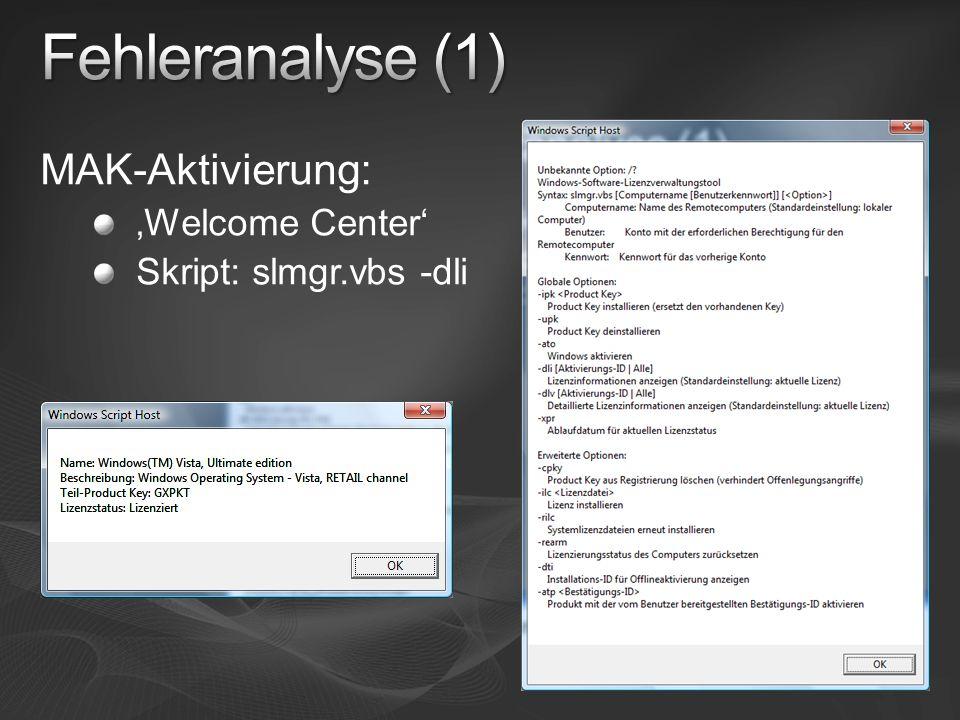 MAK-Aktivierung: Welcome Center Skript: slmgr.vbs -dli