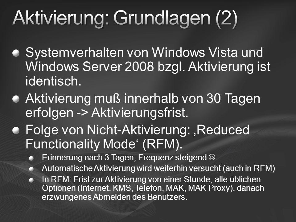 Systemverhalten von Windows Vista und Windows Server 2008 bzgl. Aktivierung ist identisch. Aktivierung muß innerhalb von 30 Tagen erfolgen -> Aktivier