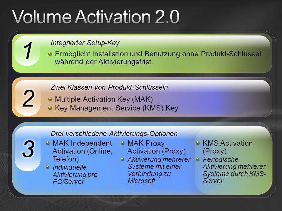 Multiple Activation Key (MAK) Key Management Service (KMS) Key MAK Independent Activation (Online, Telefon) Individuelle Aktivierung pro PC/Server MAK