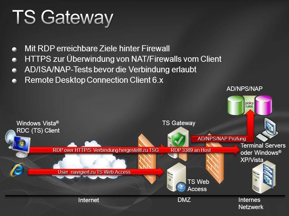Mit RDP erreichbare Ziele hinter Firewall HTTPS zur Überwindung von NAT/Firewalls vom Client AD/ISA/NAP-Tests bevor die Verbindung erlaubt Remote Desk