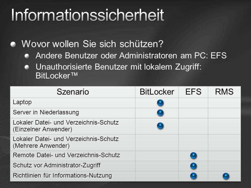 Wovor wollen Sie sich schützen? Andere Benutzer oder Administratoren am PC: EFS Unauthorisierte Benutzer mit lokalem Zugriff: BitLocker