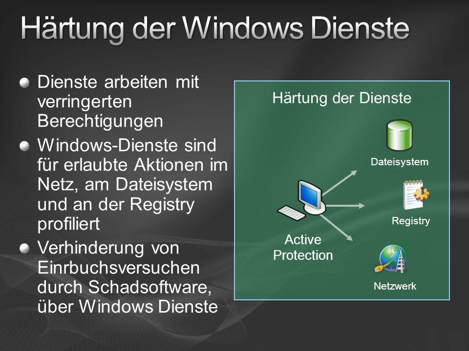 Dienste arbeiten mit verringerten Berechtigungen Windows-Dienste sind für erlaubte Aktionen im Netz, am Dateisystem und an der Registry profiliert Ver