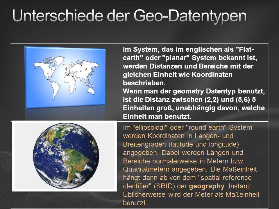Im System, das im englischen als Flat- earth oder planar System bekannt ist, werden Distanzen und Bereiche mit der gleichen Einheit wie Koordinaten beschrieben.
