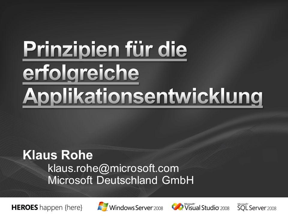 Klaus Rohe klaus.rohe@microsoft.com Microsoft Deutschland GmbH