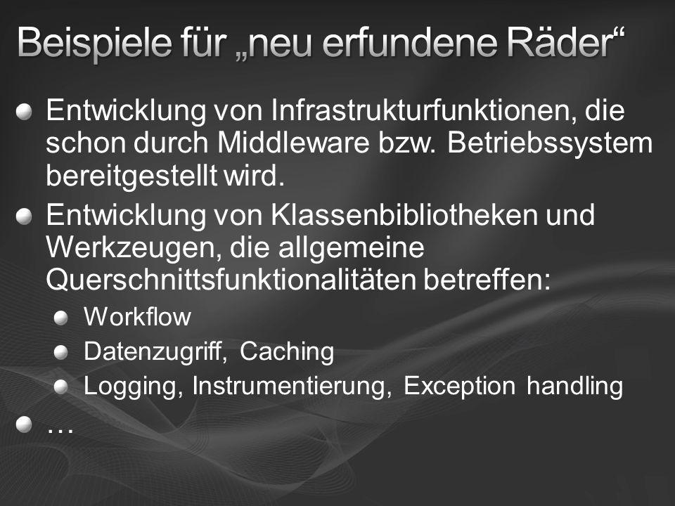 Entwicklung von Infrastrukturfunktionen, die schon durch Middleware bzw. Betriebssystem bereitgestellt wird. Entwicklung von Klassenbibliotheken und W