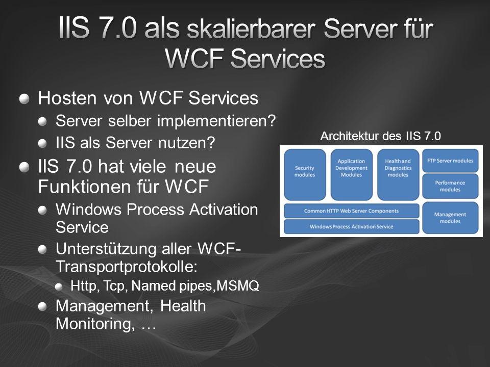 Hosten von WCF Services Server selber implementieren? IIS als Server nutzen? IIS 7.0 hat viele neue Funktionen für WCF Windows Process Activation Serv