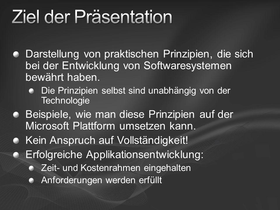 Darstellung von praktischen Prinzipien, die sich bei der Entwicklung von Softwaresystemen bewährt haben. Die Prinzipien selbst sind unabhängig von der