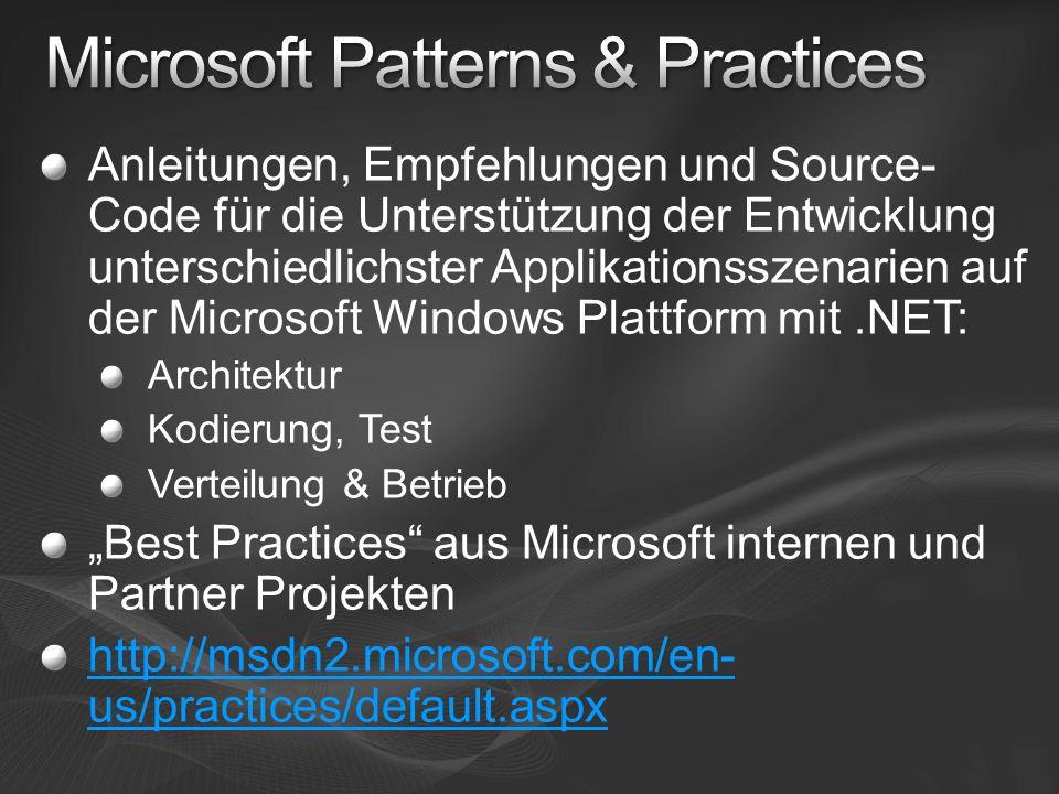 Anleitungen, Empfehlungen und Source- Code für die Unterstützung der Entwicklung unterschiedlichster Applikationsszenarien auf der Microsoft Windows Plattform mit.NET: Architektur Kodierung, Test Verteilung & Betrieb Best Practices aus Microsoft internen und Partner Projekten http://msdn2.microsoft.com/en- us/practices/default.aspx