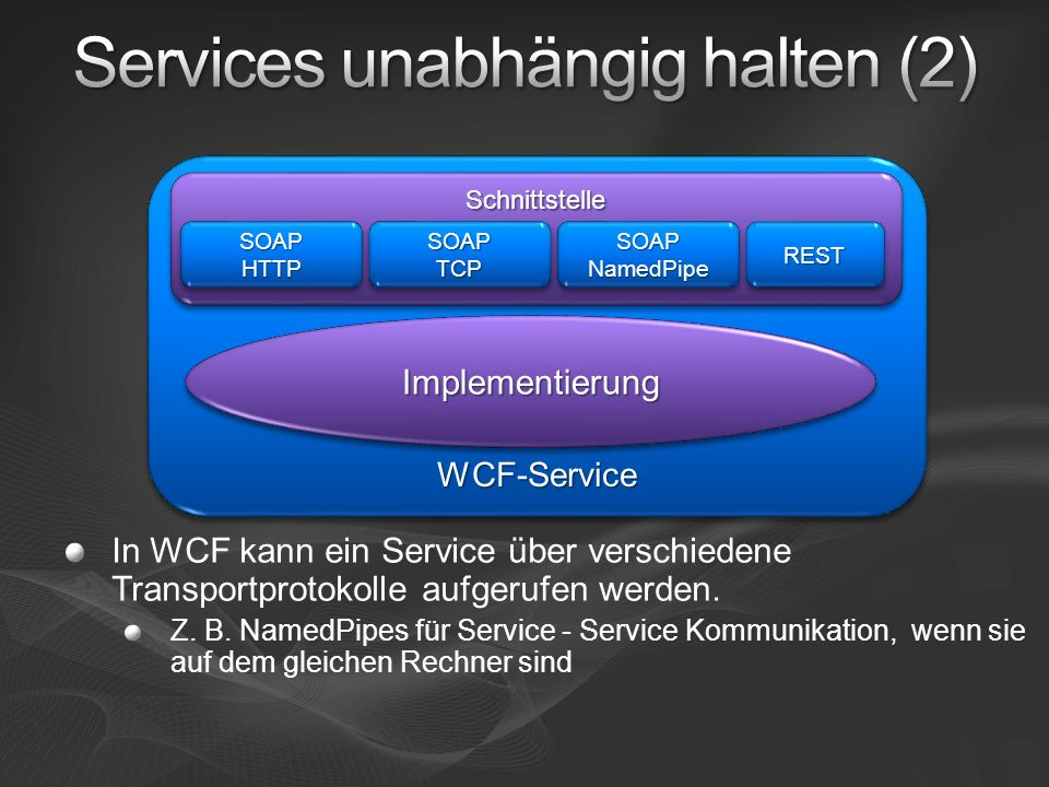 In WCF kann ein Service über verschiedene Transportprotokolle aufgerufen werden. Z. B. NamedPipes für Service - Service Kommunikation, wenn sie auf de